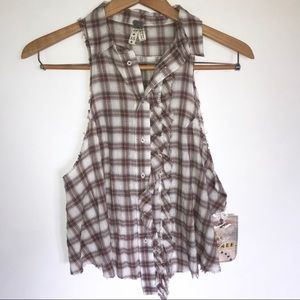 We the Free Sleeveless Plaid Button Front Tank Top